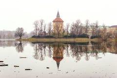 Uspokajać naturę i piękne zim sceny wokoło jeziora w centrum Malmo w Szwecja Zdjęcie Stock