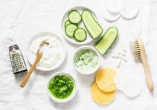 Uspokajać ogórkową jogurt maskę Składniki dla domowej roboty ogórkowego twarz ogórka, naturalny jogurt, probiotic kapsuła, gąbki, obraz royalty free