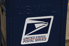 USpostal service. Merril/IOWA /USA- US mail infron of United states Post office in Merrill Iowa ruler america on 200 people ppopulation in Plymouth county Royalty Free Stock Photo