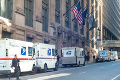 USPS delivery trucks stock images