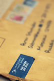 USPS mail. Close-up view. Focus on sticker stock photography