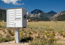 USPS metal mailboxes for rural homes Colorado Royalty Free Stock Photos