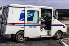 Indianapolis - Circa February 2017: USPS Post Office Mail Truck. The USPS is Responsible for Providing Mail Delivery II. USPS Post Office Mail Truck. The USPS is royalty free stock image