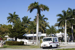 USPS truck in Hollywood, Florida Royalty Free Stock Image
