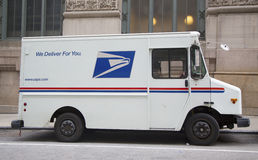 USPS truck in midtown Manhattan. NEW YORK CITY - MARCH 20: United States Postal Service truck in midtown Manhattan on March 20, 2014.  USPS is the operator of Stock Photography