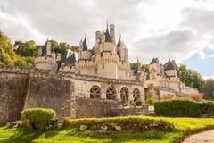 Ussé slott och de härliga trädgårdarna Arkivbild