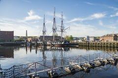 USS宪法小船在波士顿 图库摄影