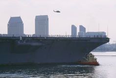 USS Abraham Lincoln arriving home after a tour of duty royalty free stock photos