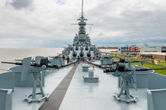 USS Alabama Battleship at the Memorial Park in Mobile Alabama USA stock images