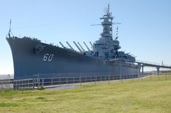 USS Alabama battleship museum. The USS Alabama at moorings as a battleship museum in Mobile Alabama stock images