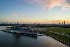 USS Alabama pancernik w Mobilnej zatoce fotografia royalty free