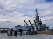 Uss Alabama Warship. MOBILE - MAY 12: USS Alabama warship BB-60, armed artillery anti aircraft deck of this South Dakota - class battleship, that is a Museum on royalty free stock images