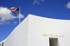 USS Arizona Memorial. With american flag in wind Royalty Free Stock Images