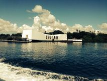 USS Arizona Memorial. In the Harbor of Pearl Harbor from World War 2 Stock Photography