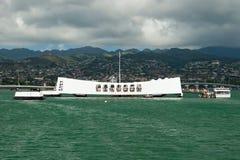 USS Arizona Memorial in Pearl Harbor in Honolulu Hawaii. View of the USS Arizona Memorial in Pearl Harbor in Honolulu Hawaii royalty free stock photo