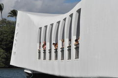 USS Arizona Memorial at Pearl Harbor in Oahu, Hawaii Royalty Free Stock Photos