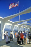 USS Arizona museum på den pärlemorfärg hamnen, Oahu, Hawaii Royaltyfri Fotografi