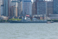 USS Bainbridge at Fleet Week. NEW YORK, NY - May 25, 2016: The USS Bainbridge navigates up the Hudson River during the Parade of Ships, kicking off Fleet Week Royalty Free Stock Image