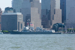 USS Bainbridge at Fleet Week. NEW YORK, NY - May 25, 2016: The USS Bainbridge navigates up the Hudson River during the Parade of Ships, kicking off Fleet Week Stock Photo