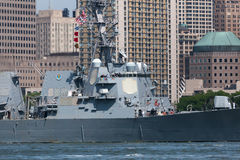 USS Bainbridge at Fleet Week. NEW YORK, NY - May 25, 2016: The USS Bainbridge navigates up the Hudson River during the Parade of Ships, kicking off Fleet Week Stock Photography