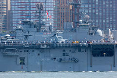 USS Bataan on the Hudson River Royalty Free Stock Photography