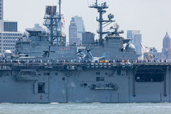 USS Bataan on the Hudson River Stock Photo