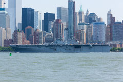 USS Bataan on the Hudson River Royalty Free Stock Photo