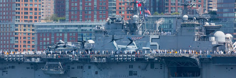USS Bataan on the Hudson River Stock Photography