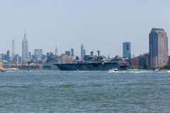 USS Bataan on the Hudson River Royalty Free Stock Images