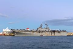 USS Bonhomme Richard lhd-6 Wasp-class amfibisch aanvalsschip van de Marine van Verenigde Staten Royalty-vrije Stock Foto's
