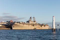 USS Bonhomme Richard LHD-6 Wasp-class amphibious assault ship of the United States Navy. Melbourne, Australia - August 30, 2017: USS Bonhomme Richard LHD-6 Wasp stock images