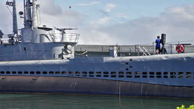 USS Bowfin Submarine. HONOLULU, OAHU, HAWAII, USA - AUGUST 21, 2016: panorama of USS Bowfin Submarine SS-287. Pearl Harbor historic landmark, National historic stock video