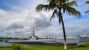 USS Bowfin Submarine Museum docked for exhibition royalty free stock image