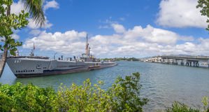 USS Bowfin submarine in Pearl Harbor Royalty Free Stock Images