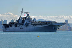 The USS Boxer departing Home Port. Royalty Free Stock Images