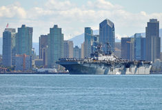 The USS Boxer (LHD 4). Departing for the Middle East stock image