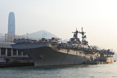 USS Boxer(LHD-4) in Hong Kong Stock Images