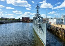 USS Cassin Young ship moored in Boston. Military ship moored in Boston Navy Yard in Boston, the USA. It is the Fletcher-class destroyer which belonged to US Navy Royalty Free Stock Photography