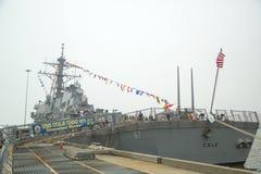 USS Cole prowadził pociska niszczyciela Stany Zjednoczone marynarka wojenna podczas flota tygodnia 2014 Obraz Stock
