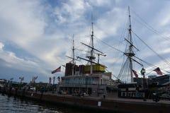 USS Constellation历史的船在巴尔的摩,马里兰 图库摄影