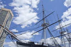 USS Constellation in Baltimores Inner Harbor Stock Photography