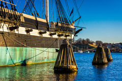 The USS Constellation in the Inner Harbor of Baltimore, Maryland stock photography