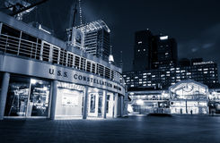 The USS Constellation Museum and Pratt Street Pavilion during tw Royalty Free Stock Images