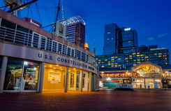 The USS Constellation Museum and Pratt Street Pavilion during tw Stock Images