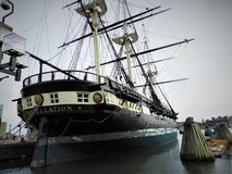USS Constellation ship in the Baltimore Harbour stock image