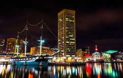 The USS Constellation and World Trade Center at night, in the In Royalty Free Stock Images