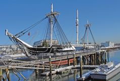 USS Constitution anchoring in Boston Royalty Free Stock Photo
