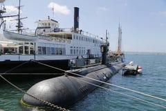 USS delfinubåt i San Diego Harbor Fotografering för Bildbyråer