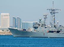 The USS Gary (FFG-51). The USS Gary returning to Port Stock Photography