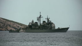 USS Gettysburg. The Tconderoga class cruise USS Gettysburg anchored in Benidorm bay in Spain stock video footage